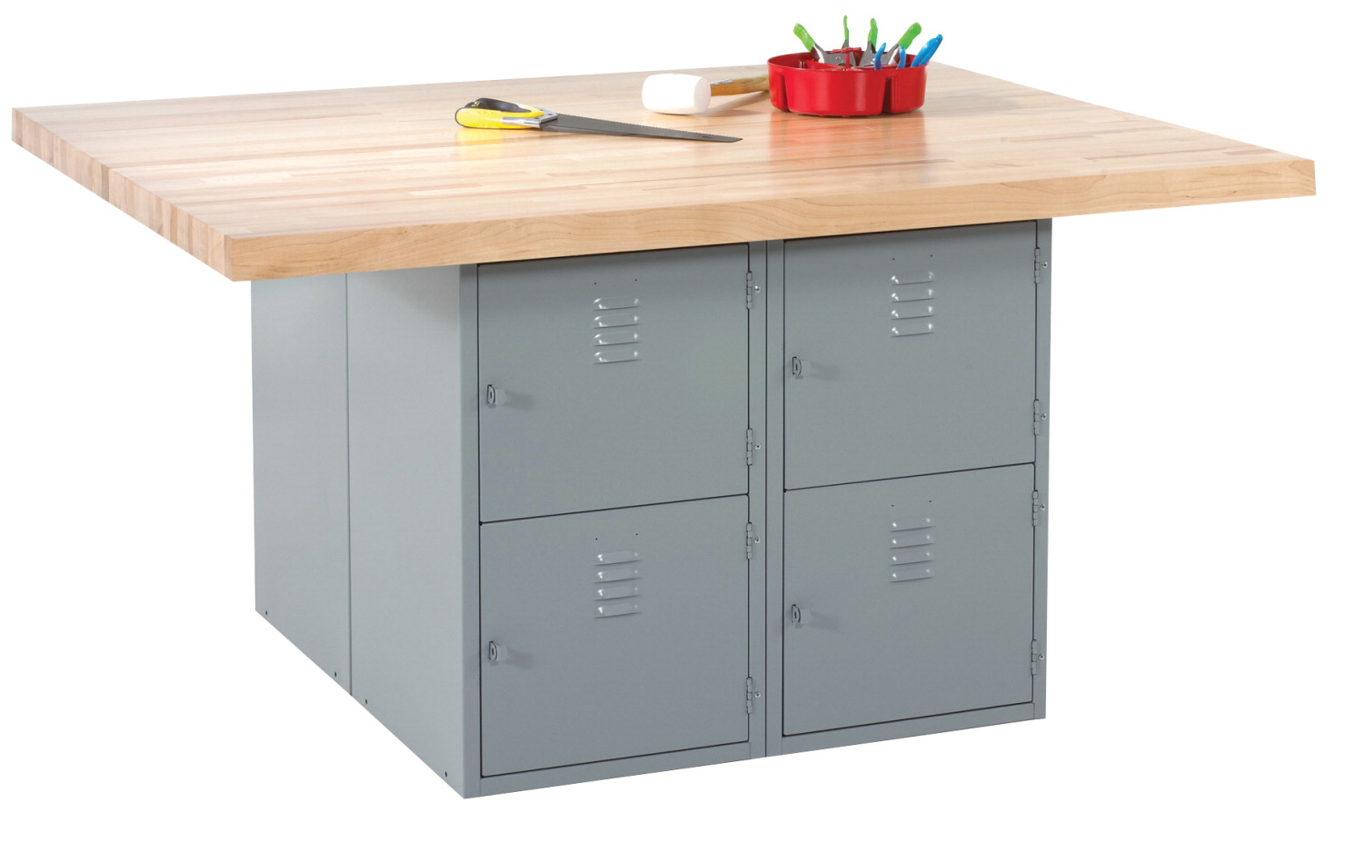Diversified Woodcrafts 4 Station 8 Locker Workbench with 4 Vises, 64 x 54 x 33-1/4 Inches, Various Options