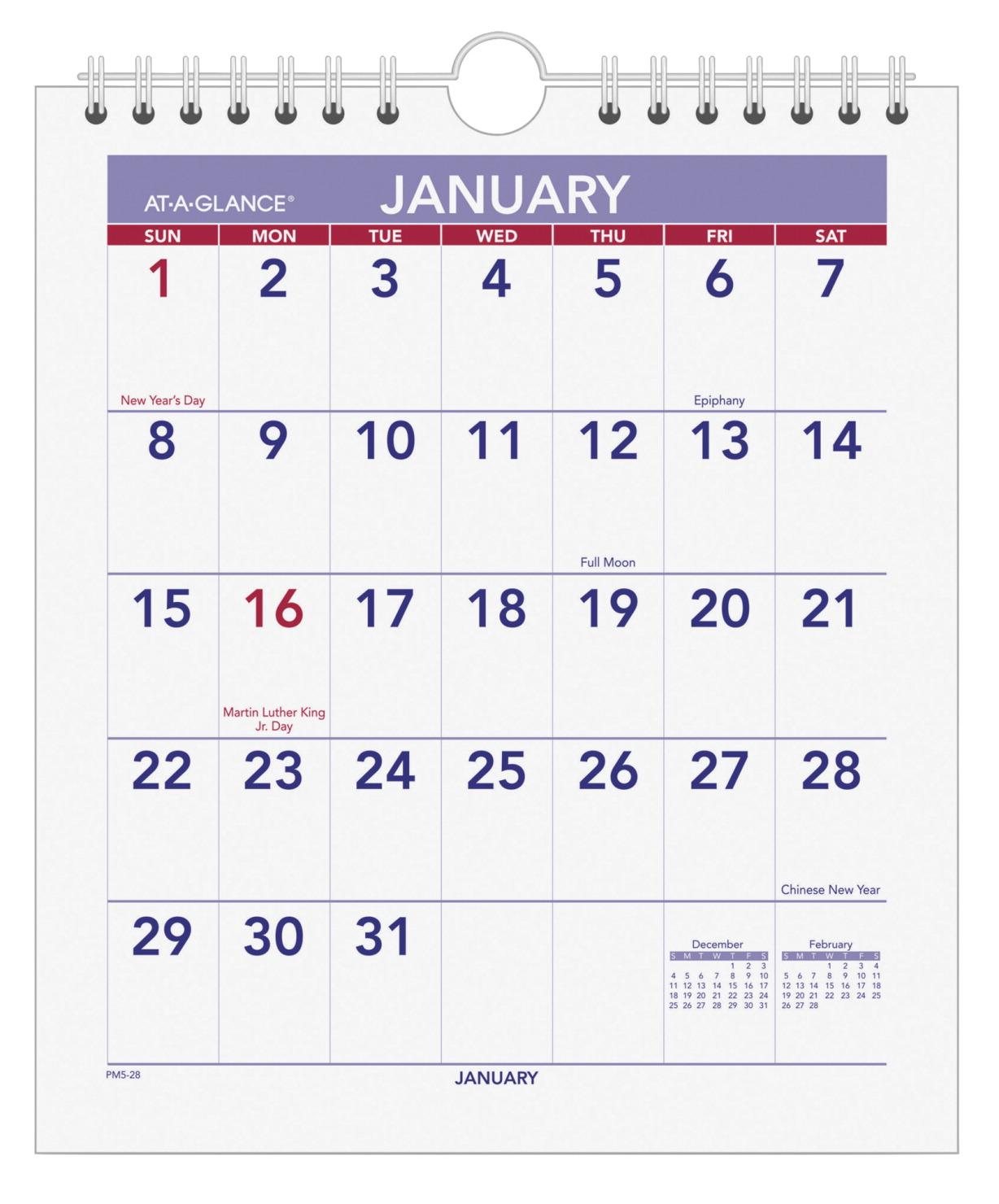 18cdb8f886c At-A-Glance Mini Monthly Wall Calendar, Jan-Dec, 6-1/2 x 7-1/2 Inches -  SOAR Life Products