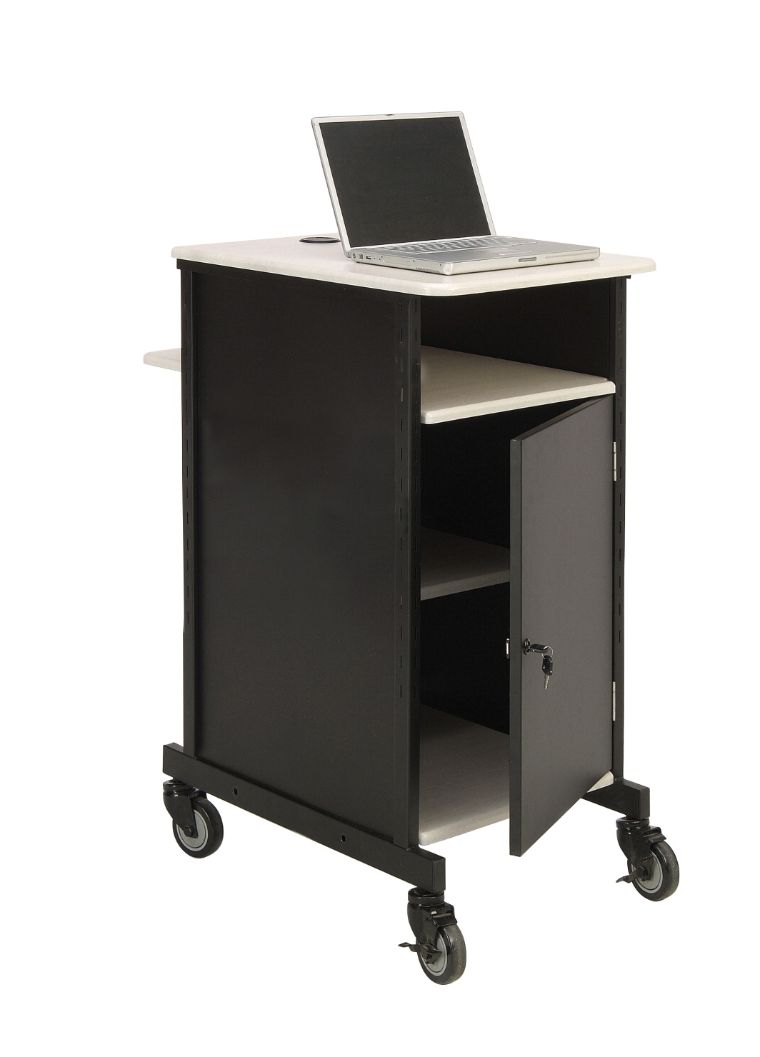 Oklahoma Sound Jumpo Presentation Cart, Steel Frame, Black, Ivory Woodgrain
