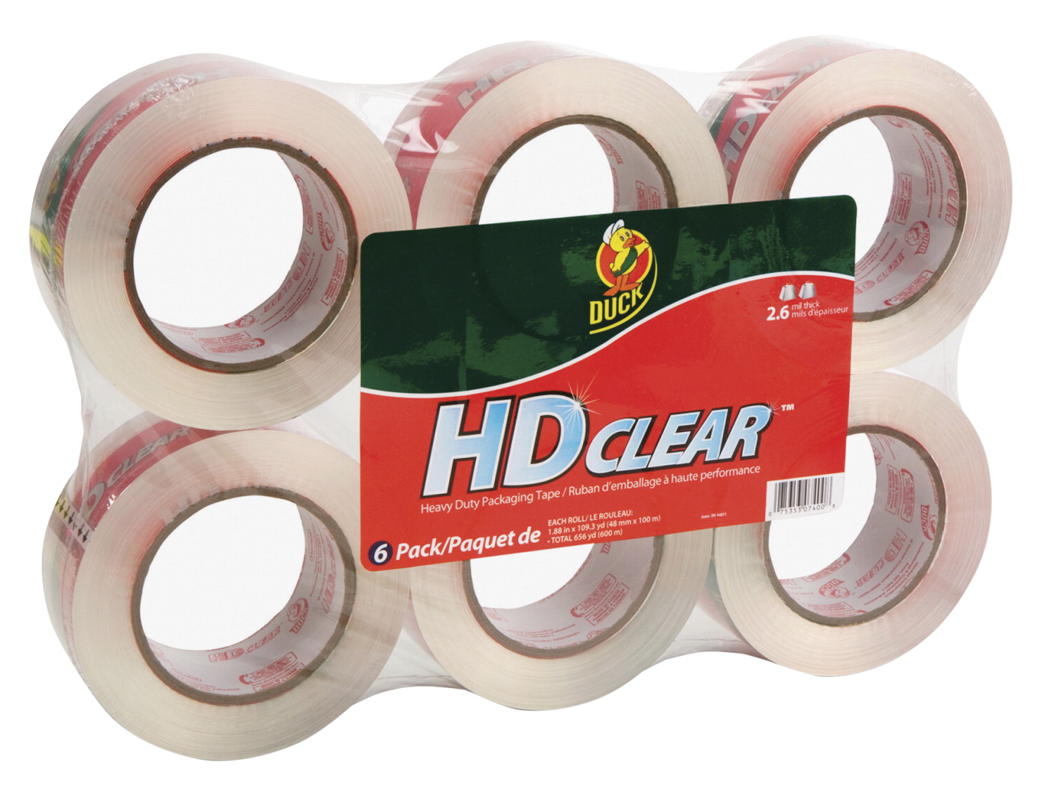 Duck Packing Tape, 1 88 in x 110 yd, 2 66 mil, Clear