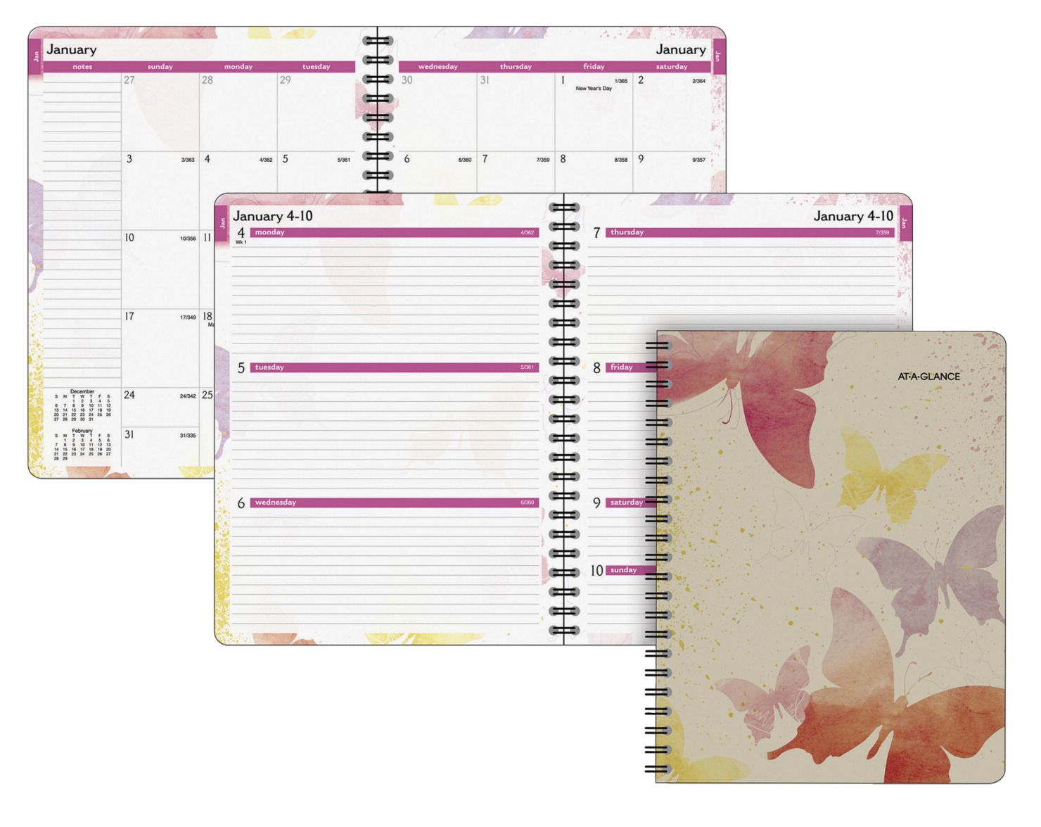 At-A-Glance Watercolors Design Planner, 8-1/2 X 11 in, Weekly/Monthly, 12 Months, Jan - Dec