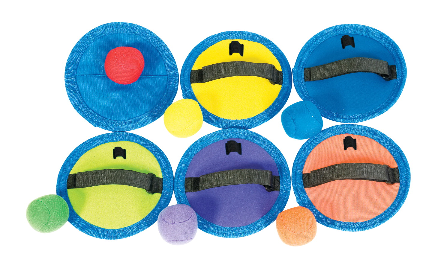 Sportime CatchPads and Balls, 7 Inches, Assorted Colors, Set of 6