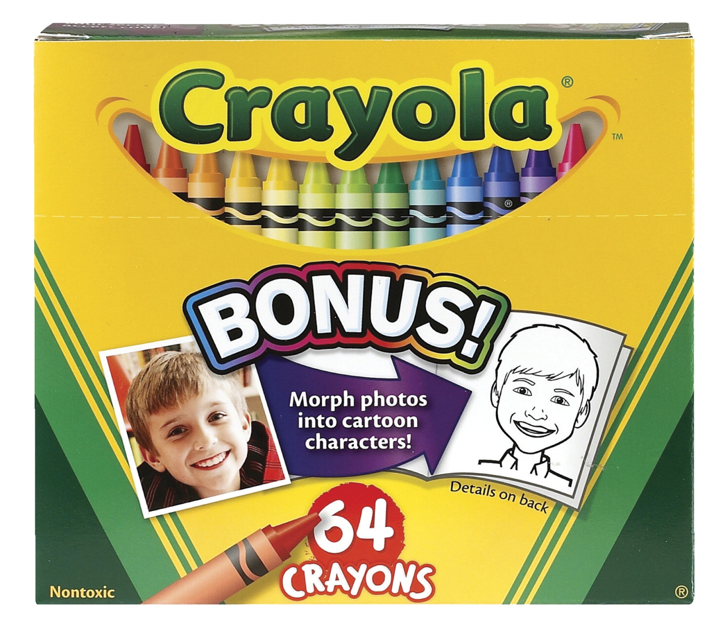 Crayola Standard Size Crayons in Hinged Top Box and Sharpener, Set of 64