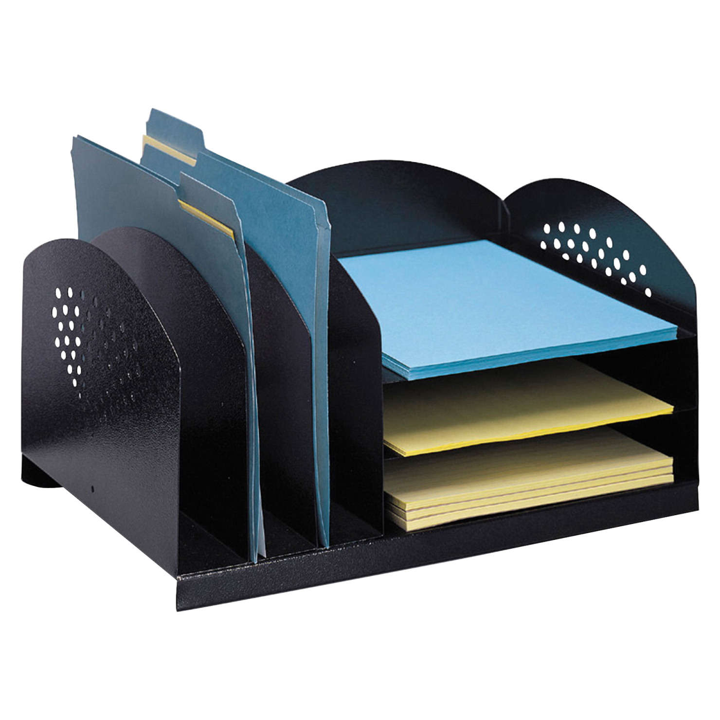 Safco Combination Rack 6 Compartment Desk Organizer Black