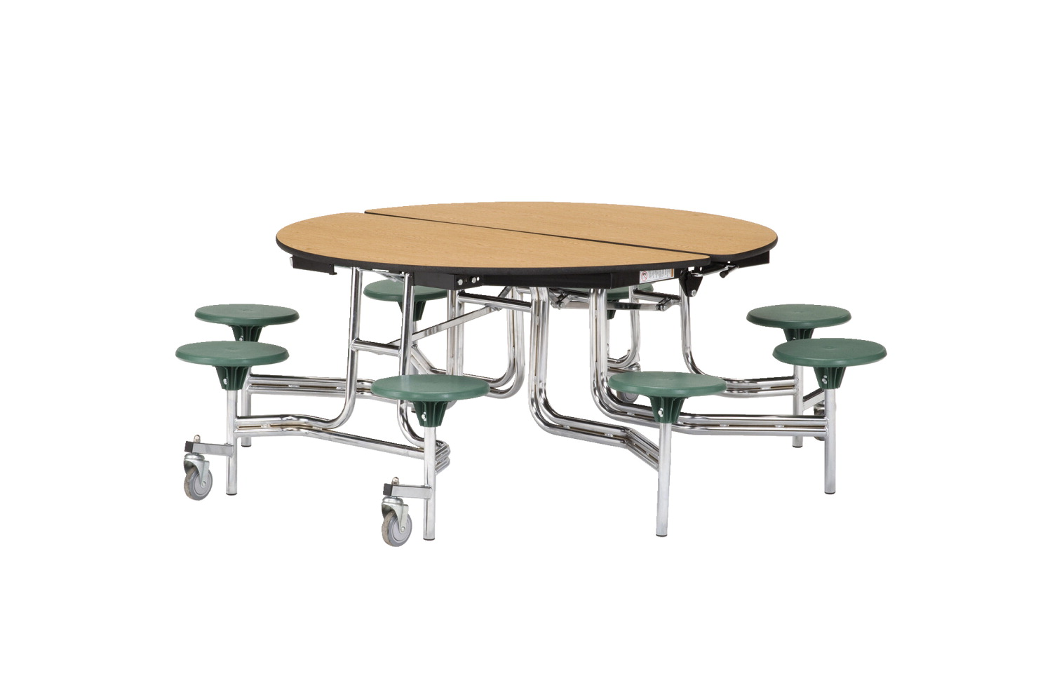 Classroom Select Round Mobile Cafeteria Table with 8 Seats and LockEdge, 60 in Dia x 29 in H, MDF Core High Pressure Laminate Top, Black Powder Coated Frame