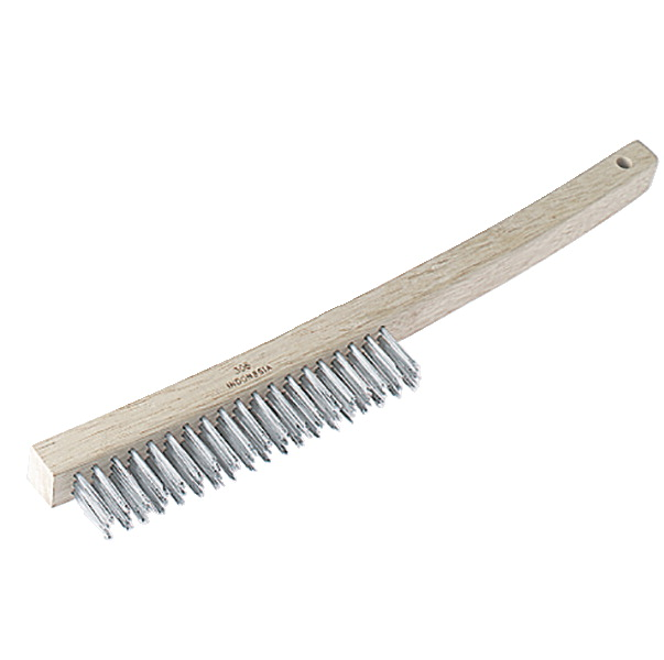 Laitner Brush Curved Long Handle Wire Brush, 1 X 14 in, Wood Block