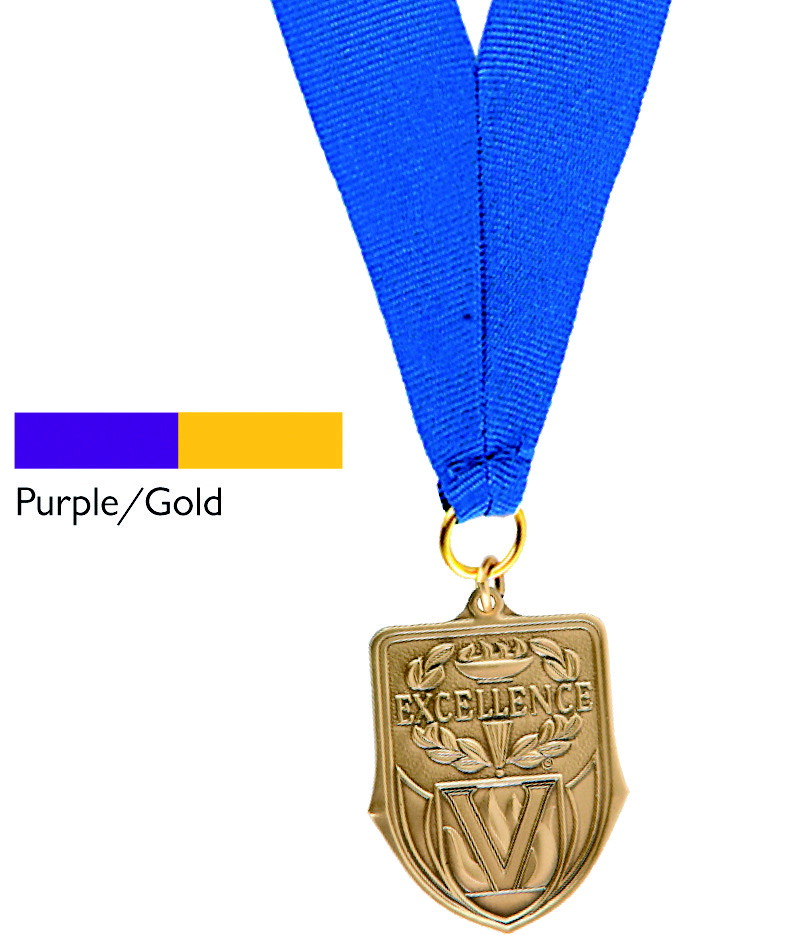 Hammond & Stephens Neck Ribbon, 7/8 X 30 in, Purple and Gold