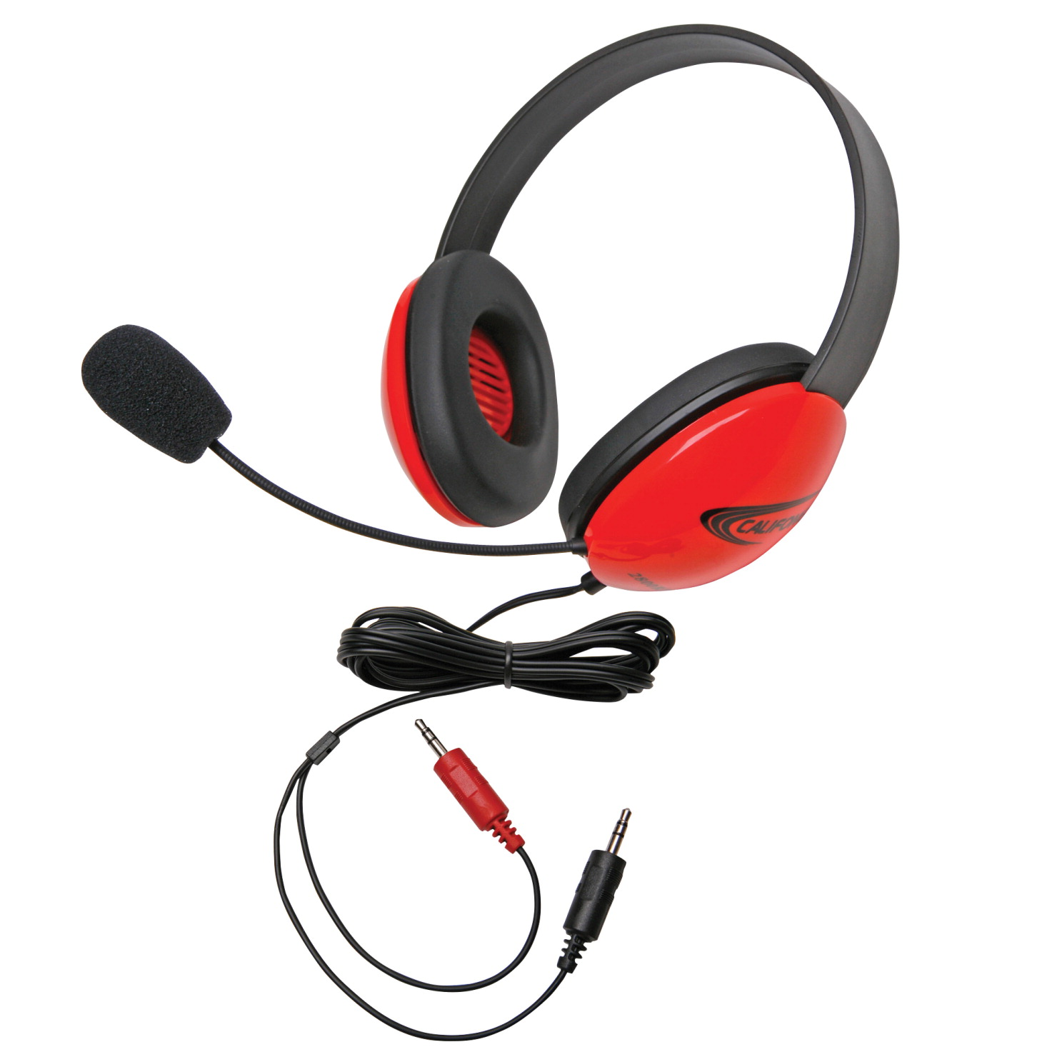 Califone Listening First 2800-AV Over-Ear Stereo Headset with Gooseneck Microphone, Dual 3.5mm Plug, Red, Each