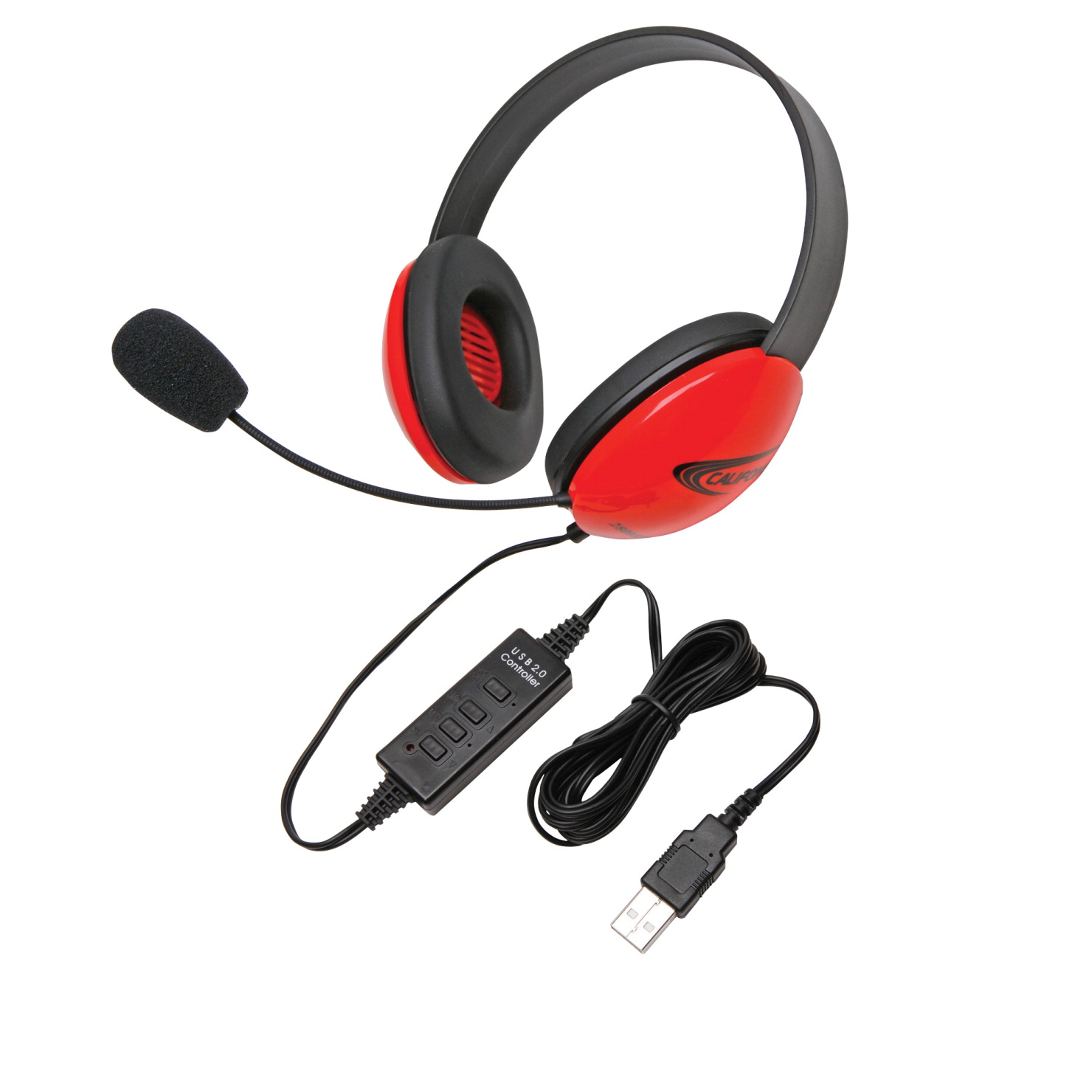 Califone Listening First 2800RD-USB Over-Ear Stereo Headset with Gooseneck Microphone, USB Plug, Red, Each