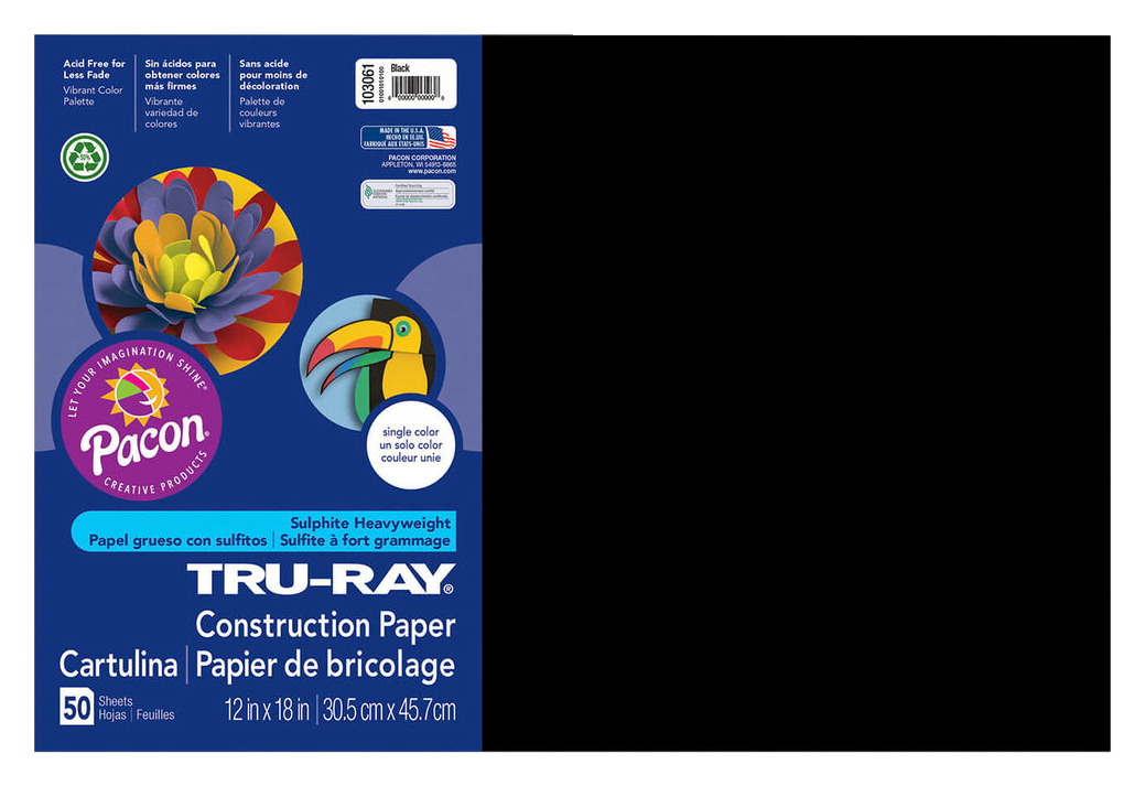 Tru-Ray Sulphite Acid-Free Non-Toxic Construction Paper, 76 lb, 12 x 18 Inches, Black, Pack of 50