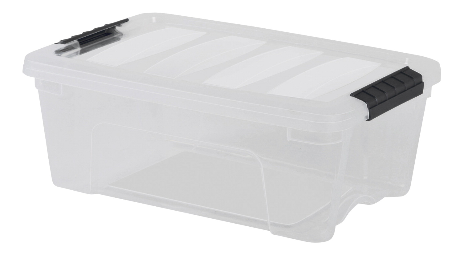 IRIS TB-56 Pull Stack Storage Box with Handle, 22 x 16-1/2 x 6-1/2 Inches, 26.9 Quarts, Clear/Black