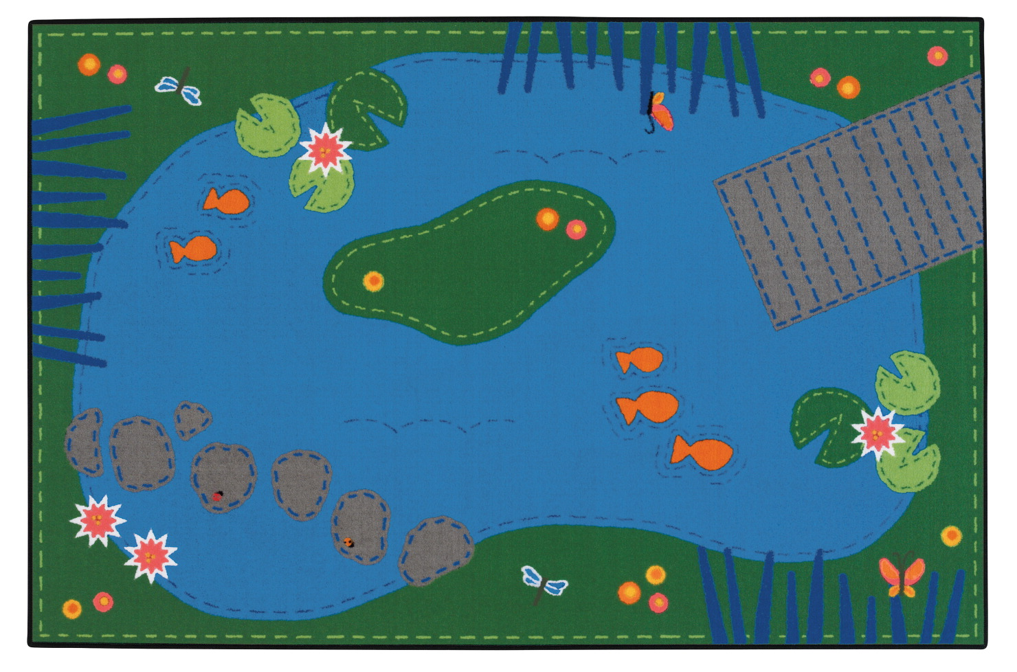 Carpets for Kids Value Line Tranquil Pond Rug, 4 x 6 Feet, Rectangle
