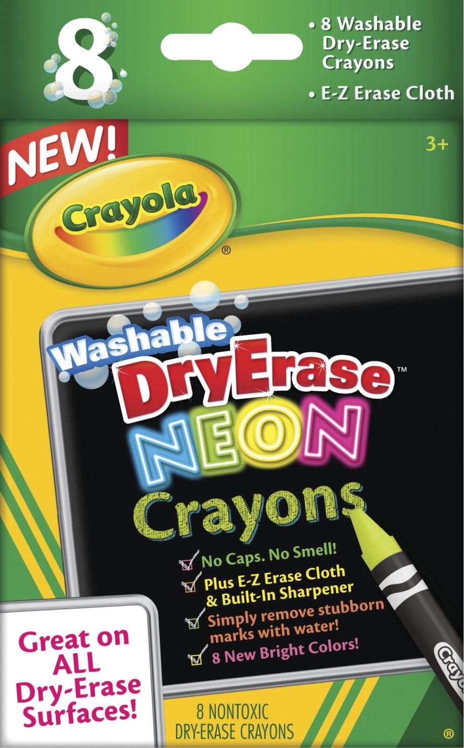 Crayola Dry Erase Washable Crayon Marker Set, Assorted Neon Colors, Set of 8