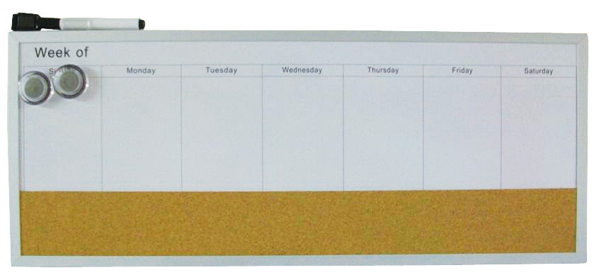 Dooley Boards One Week Dry-Erase Calendar Board with Cork Strip, 8 X 20 in, Aluminum Frame