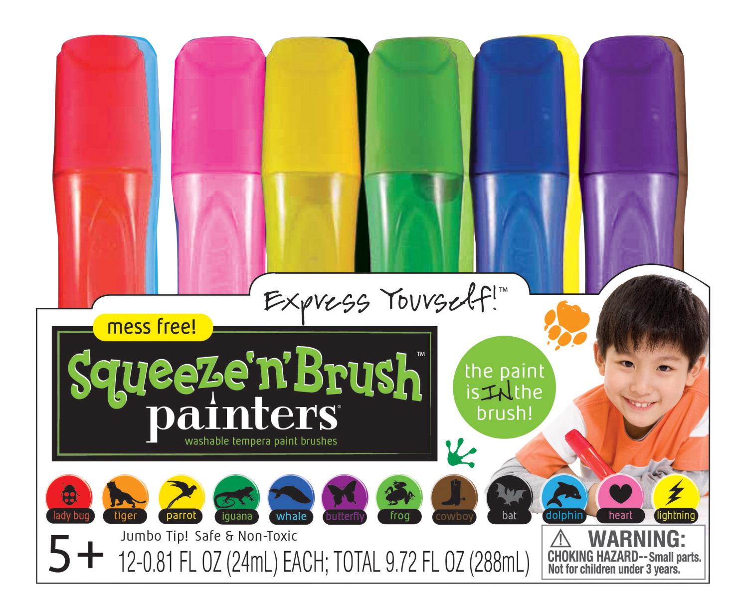 Painters Squeeze 'n' Brush Washable Tempera Paint Brushes, Assorted Colors, Set of 12