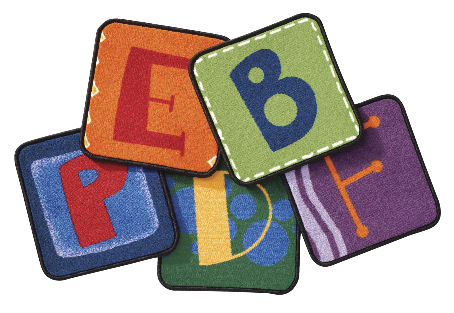 Carpets for Kids Toddler Alphabet Block Carpet Squares, 14 Inches, Primary Colors, Set of 26