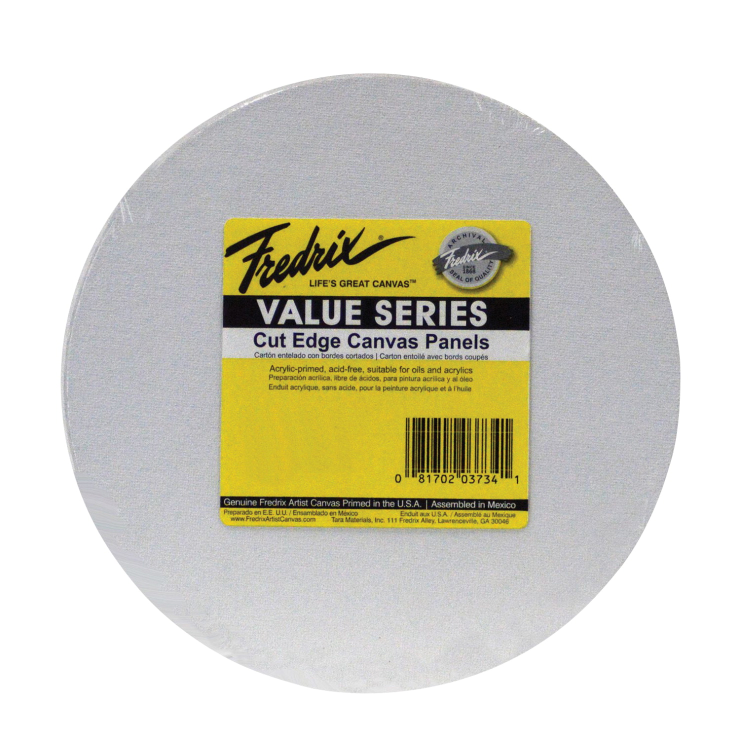 Fredrix Value Series Cut Edge Canvas Panel, Round, 8 Inches Round, White, Pack of 25