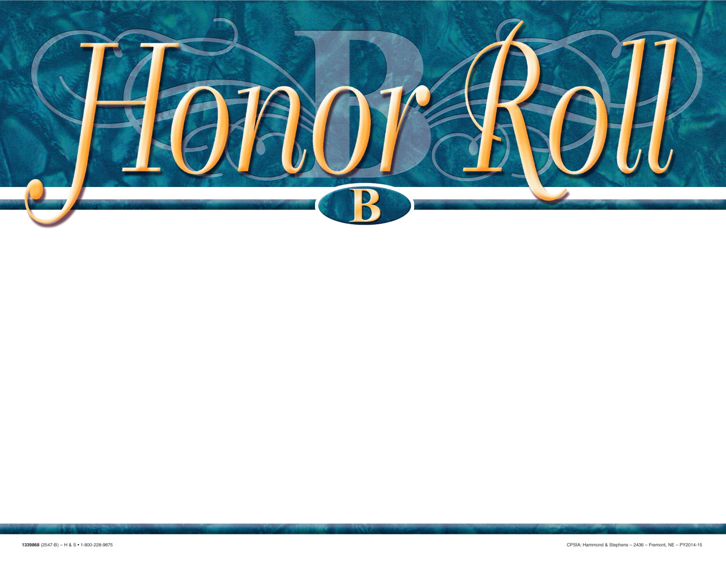 School smart recognition focus award school specialty for B honor roll certificate template