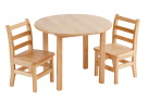 ECR4Kids Hardwood Table & 2 Ladderback Chairs Set, 12 H in Chairs, 30 in Round x 22 H in Table