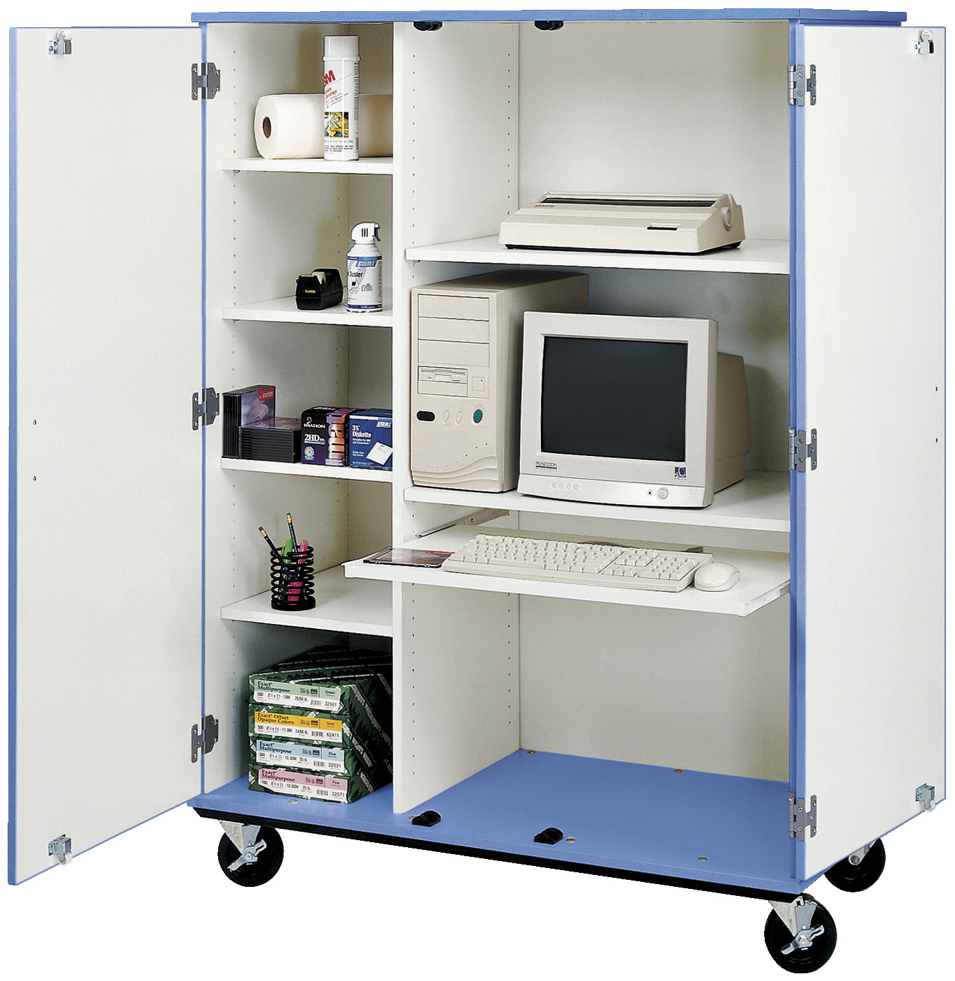 Stevens I.D. Systems Mobile Locking Computer Cabinet, 48 x 24 x 67 Inches, Various Options
