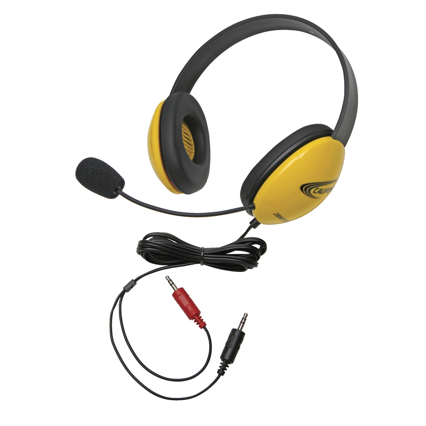 Califone Listening First 2800YL-AV Over-Ear Stereo Headset with Gooseneck Microphone, Dual 3.5mm Plug, Yellow, Each