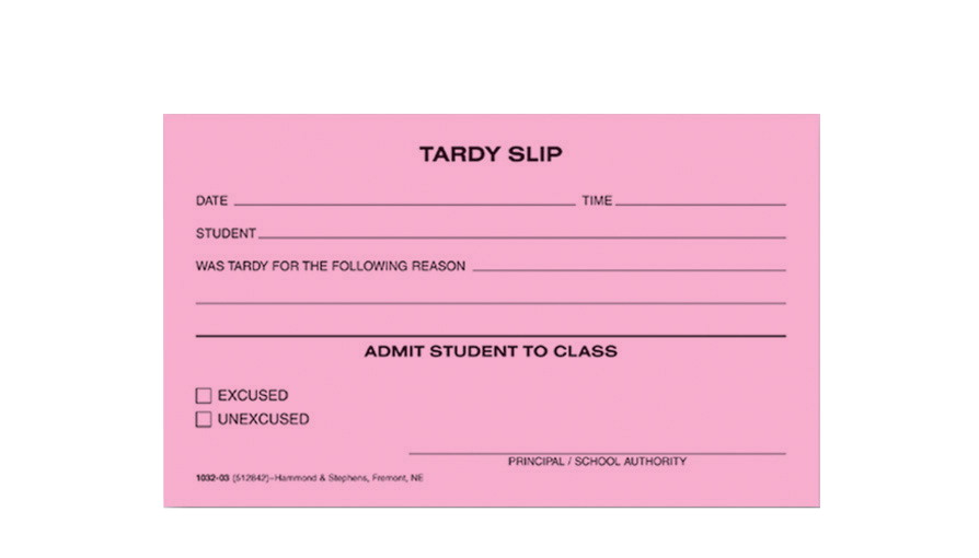 Hammond & Stephens 1032-03-10 Tardy Slip Pad, 3 x 5 Inches, Pink, Pack of 10