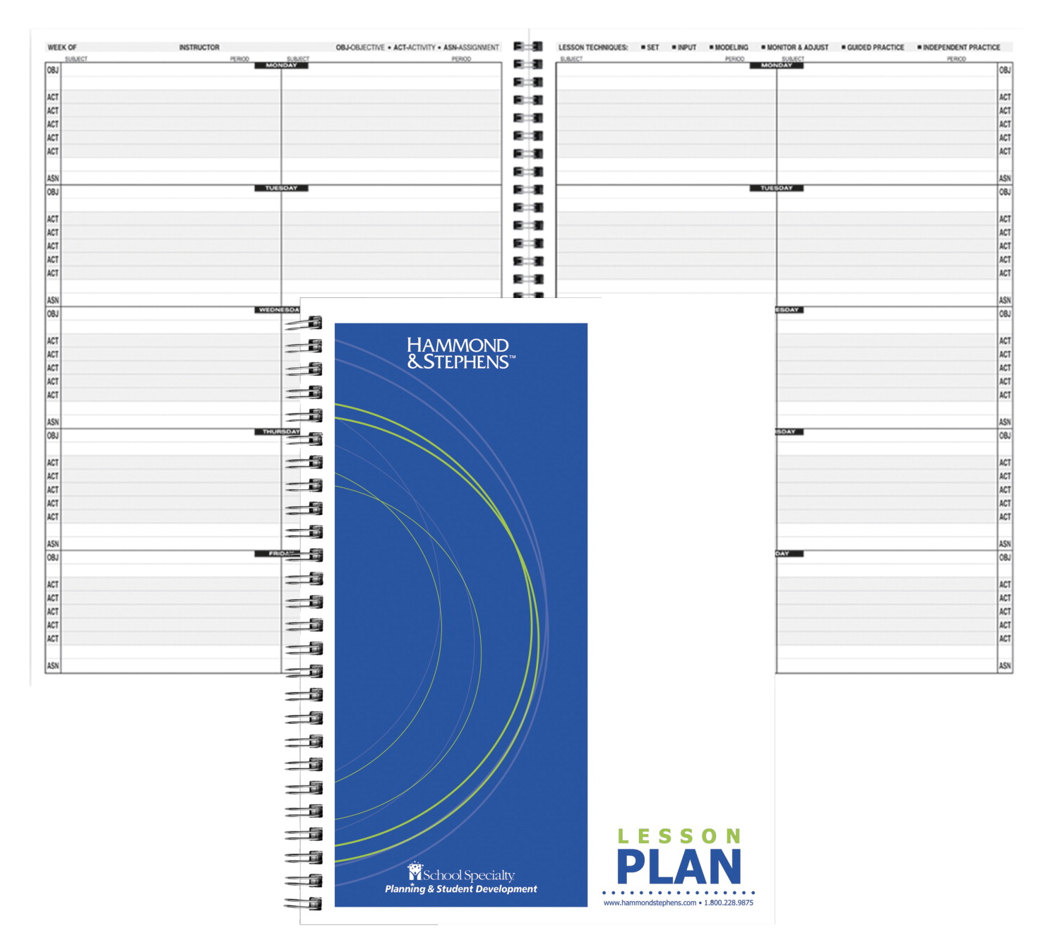 Hammond & Stephens 0440 P Block Schedule Lesson Plan Book, PolyIce Cover, 9-1/4 x 12-1/4 Inches, 4 Subjects, Green/ Blue