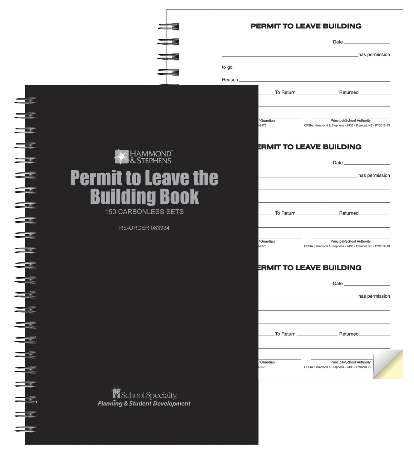Hammond & Stephens Permit to Leave Building Book, 2-Ply, Carbonless, 5-1/2 x 8-5/8 Inches