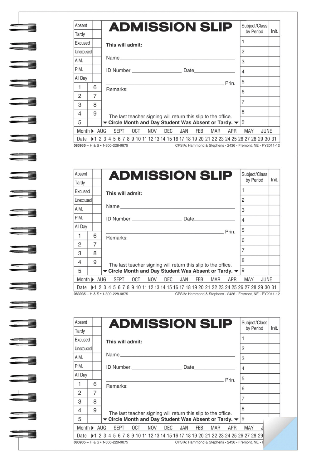 Hammond Stephens 2 Part Carbonless Admit Slip Book 5 1