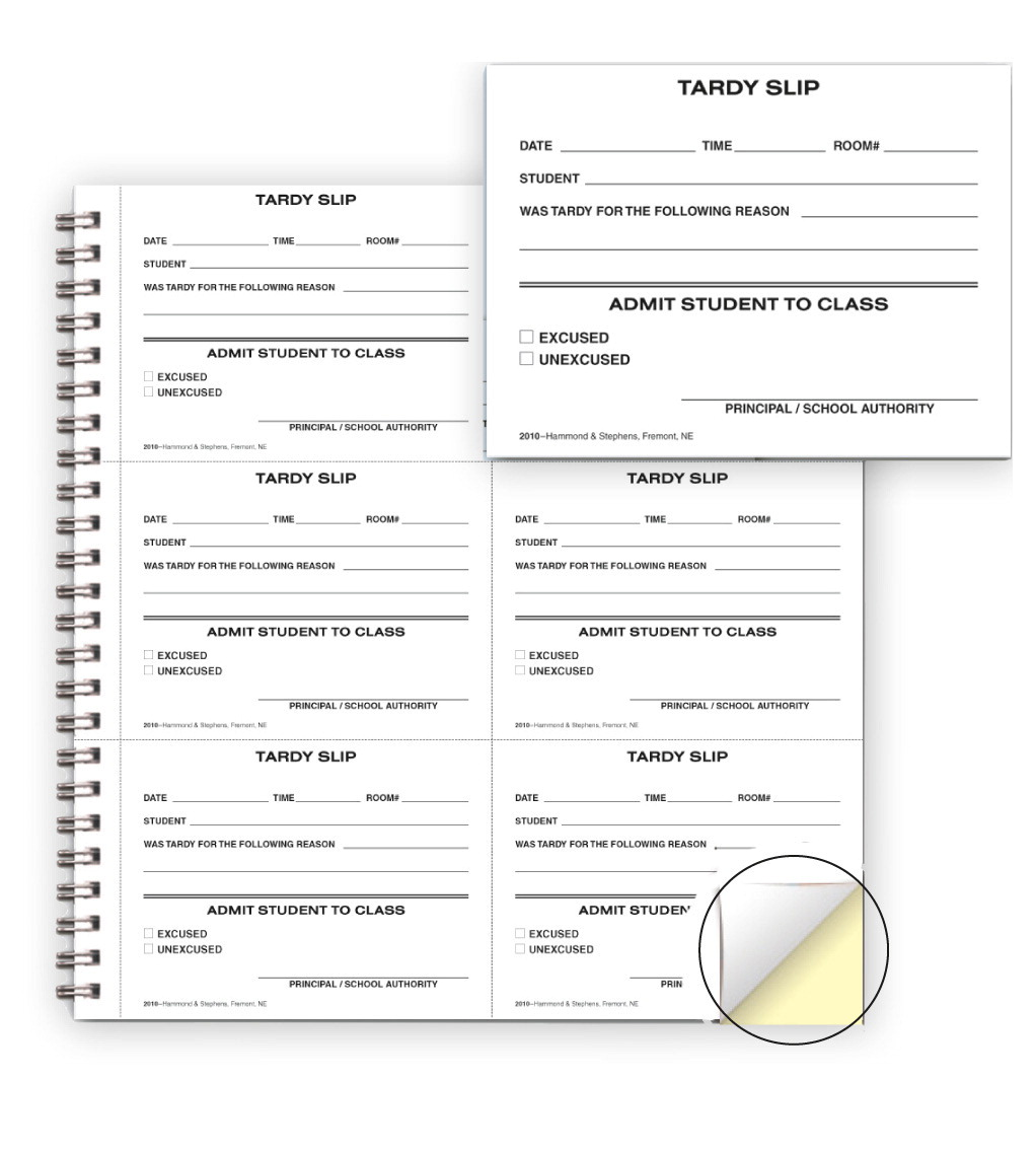 Hammond & Stephens Carbonless Record Book with 300 Tardy Slips, White/Pink