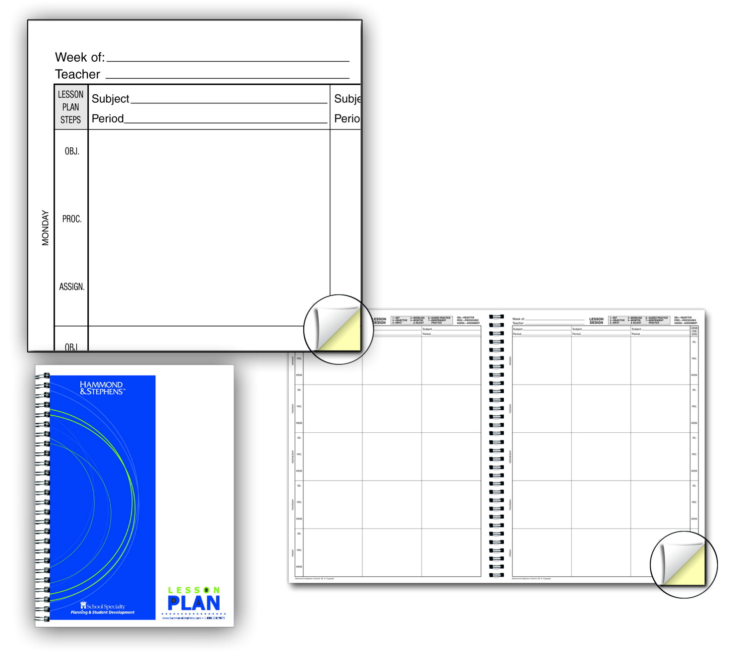 Hammond and stephens lesson plan book white yellow for Plan books