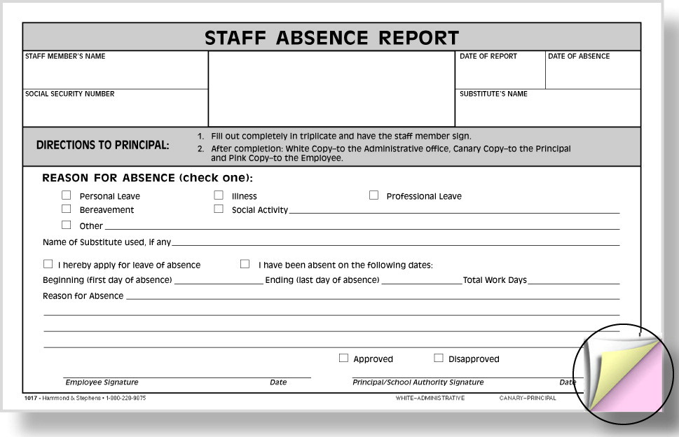 Hammond & Stephens 1017 3-Part Carbonless Staff Absence Report Form, 5 x 8 Inches, White, Canary, Pink, Pack of 100