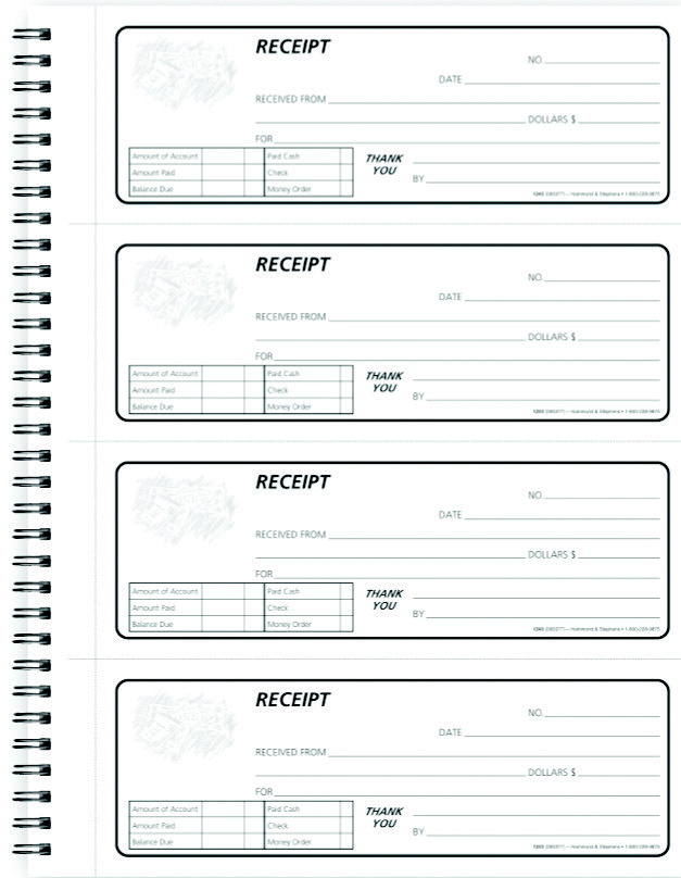 hammond and stephens receipt book white pink school specialty canada