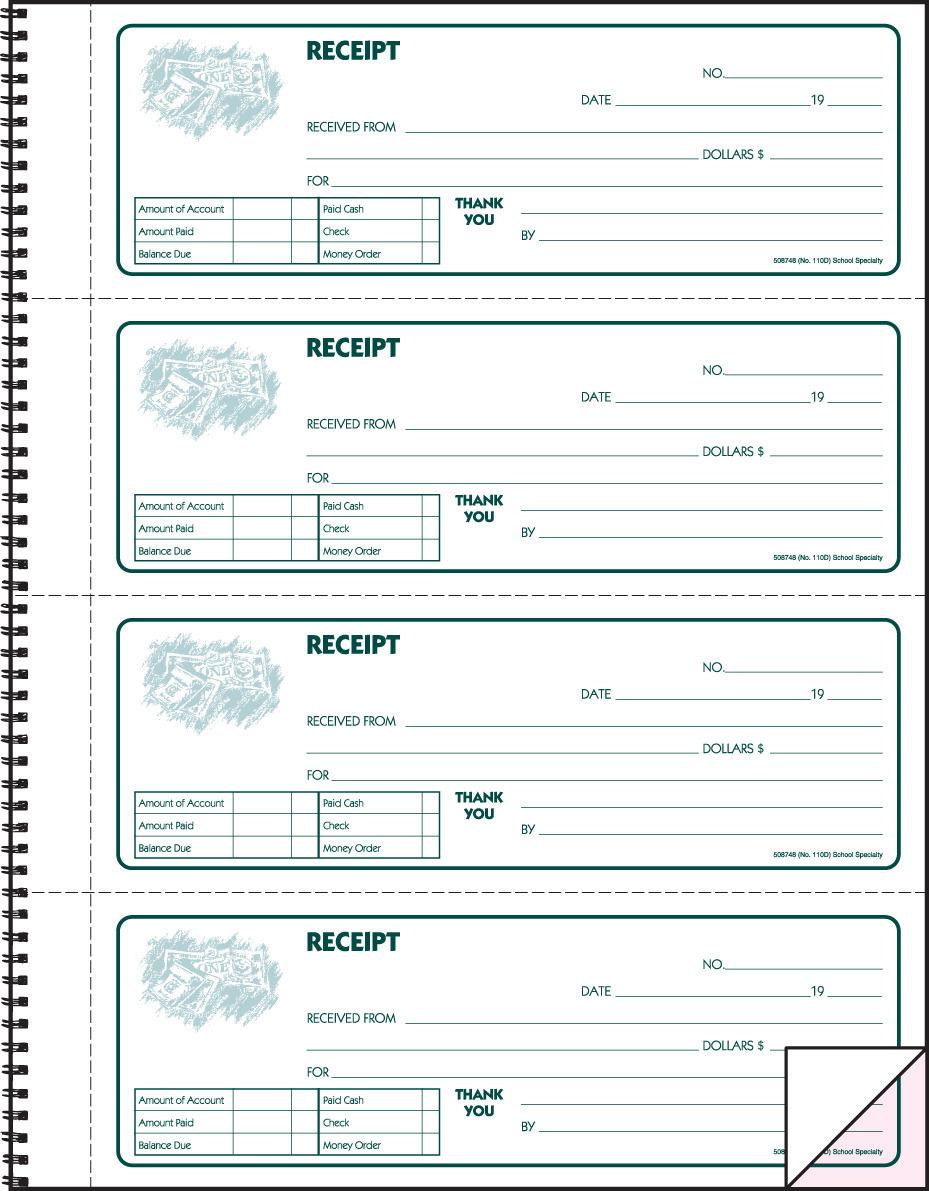 receipt book school specialty marketplace