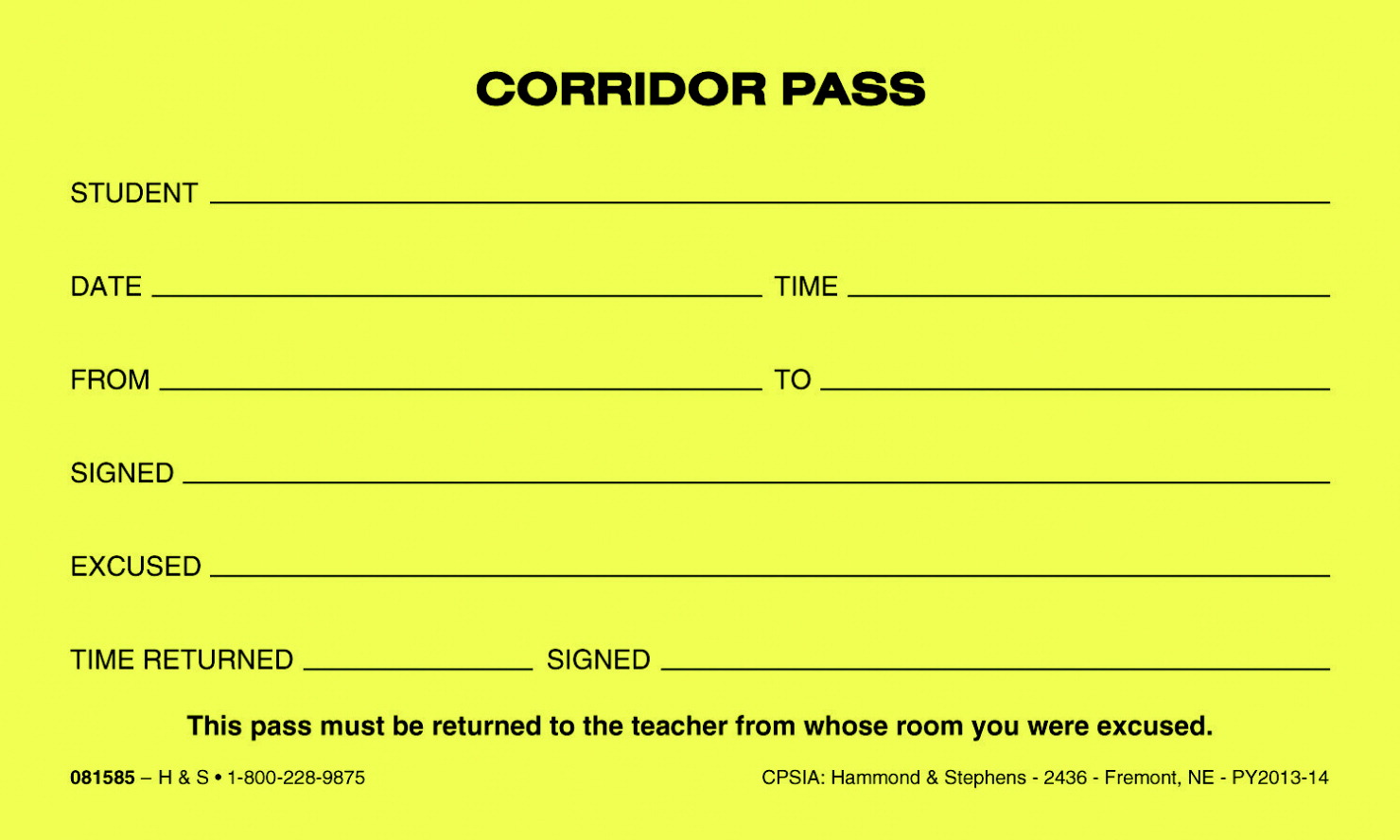Hammond & Stephens Corridor Pass, Yellow, Set of 10 Pads with 100 Sheets Each