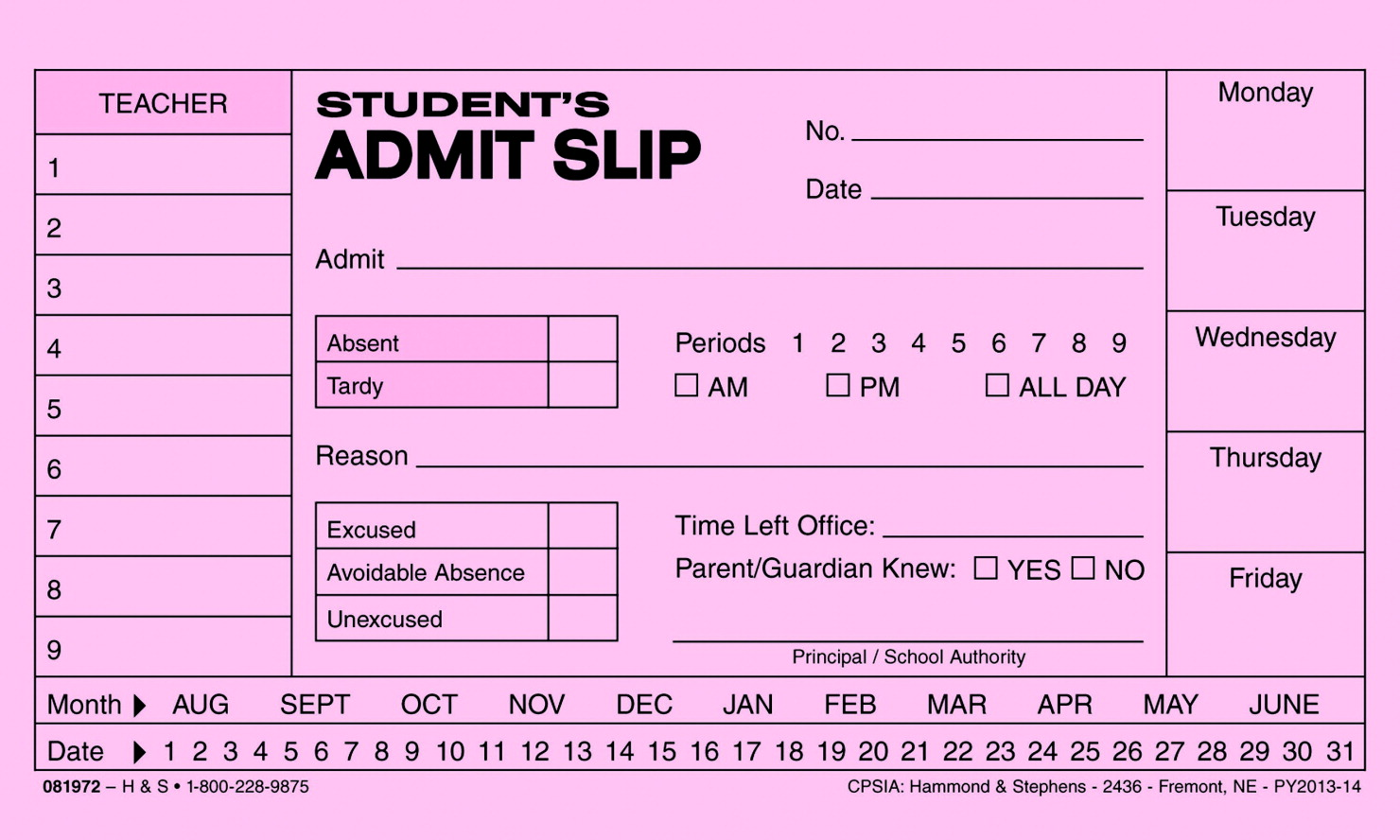 Hammond & Stephens 1 Ply Student Admit Slip Pad, 3 x 5 Inches, Pack of 10 Pads