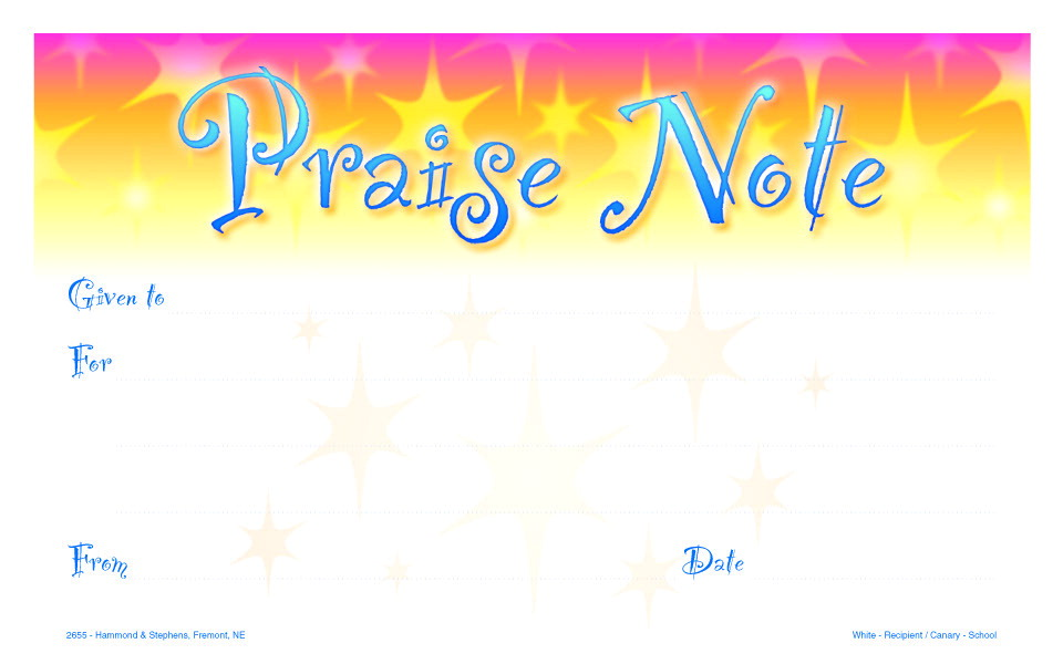 Hammond & Stephens 2-Part Carbonless Praise Note Memo Pad with Carbonless Duplicates, 50 Sheets, 5 X 8 in