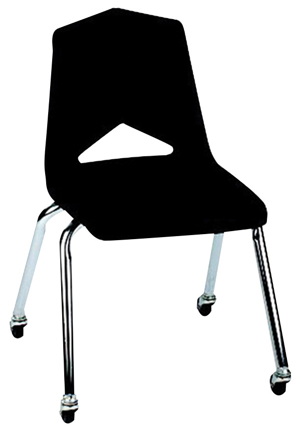 Royal Seating 1100 Hard Plastic Shell Chair with Casters, 18 Inch Seat, Chrome Frame, Various Options