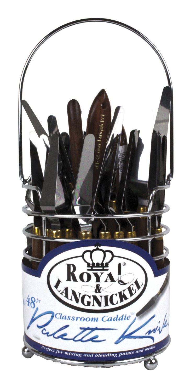 Royal Brush Stainless Steel Flexible Palette Knives Classroom Caddy Set with 24 Straight 24 Trowel, Set of 48