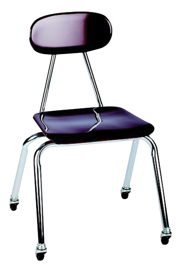 Classroom Select Royal Seating 4100 Hard Plastic Chairs With Casters, 18 Inch Seat Height, Chrome Frame, Various Options
