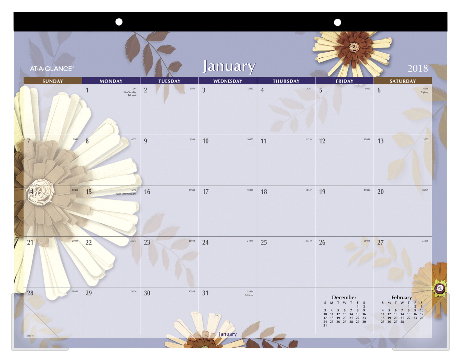 At-A-Glance 2019 Desk Pad Calendar, Floral, 22 x 17 in, 12 Months