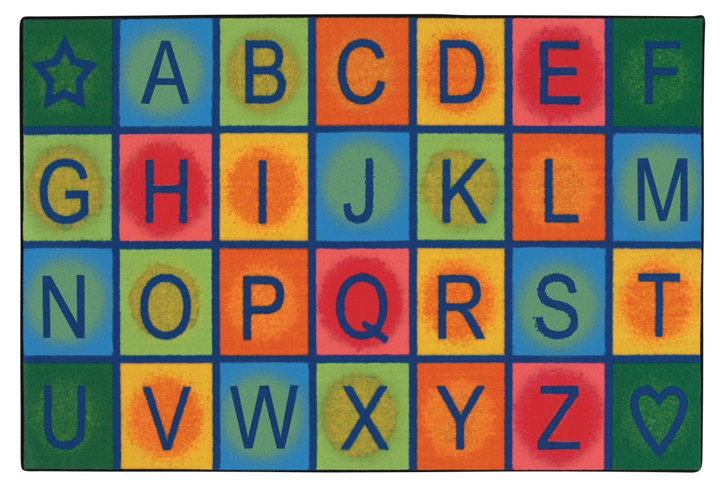 Carpets for Kids Value Line Simple Alphabet Blocks Rug, 4 x 6 Feet, Rectangle