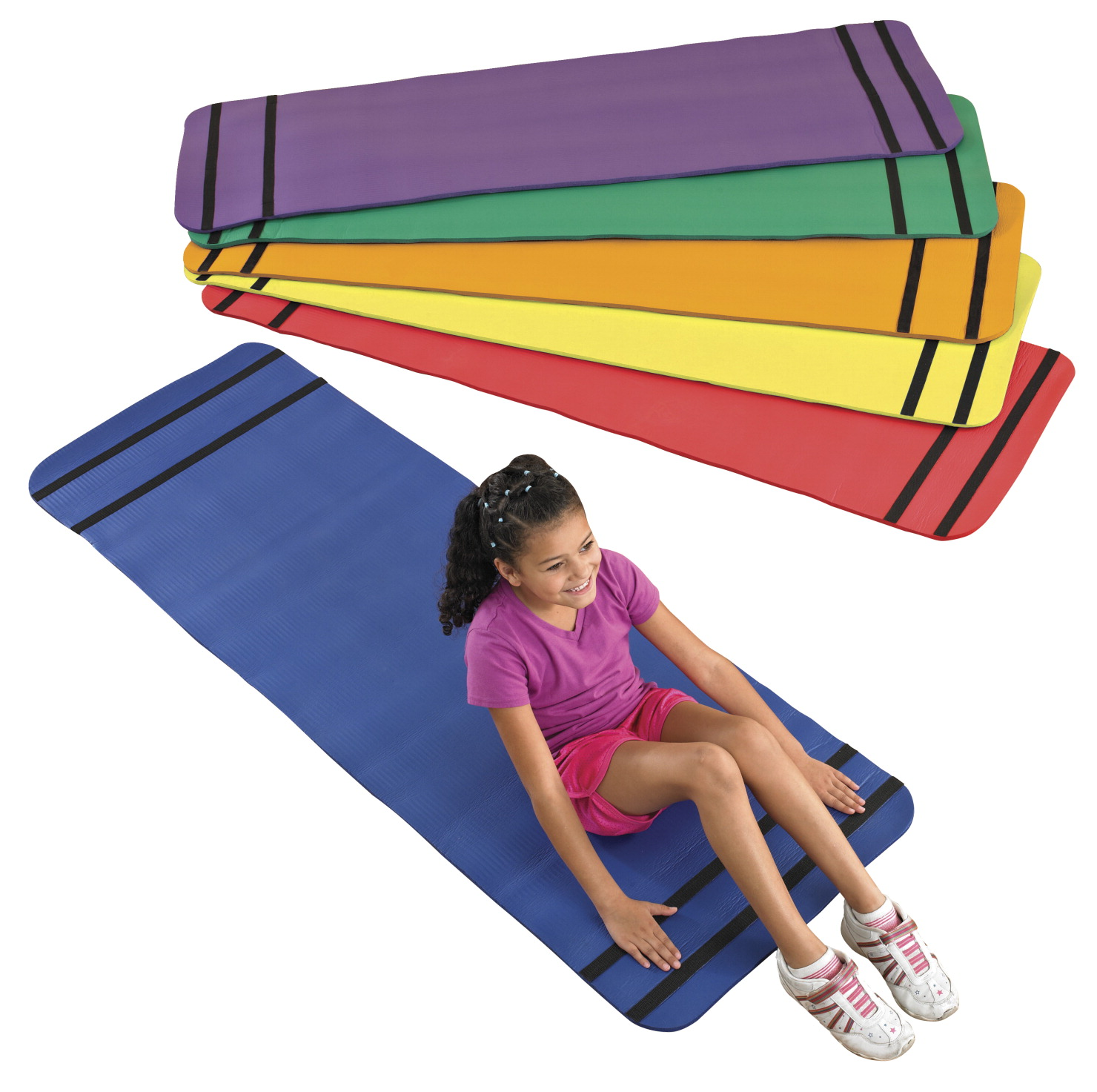 Sportime Curl Up Yoga Mats, Assorted Colors, Set of 6