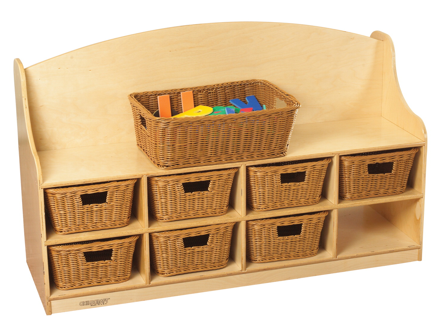 Peachy Childcraft Reading Bench And Storage Unit 8 Medium Baskets 47 3 4 X 16 3 4 X 30 Inches Andrewgaddart Wooden Chair Designs For Living Room Andrewgaddartcom