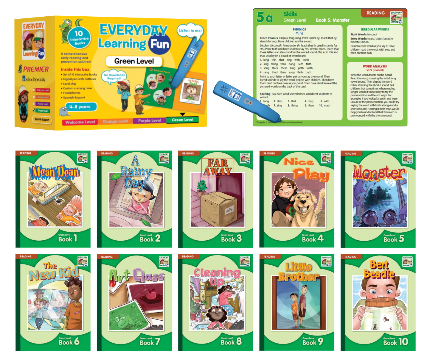 Premier Everyday Learning Fun Reading Teaching Resource Set, Green Level
