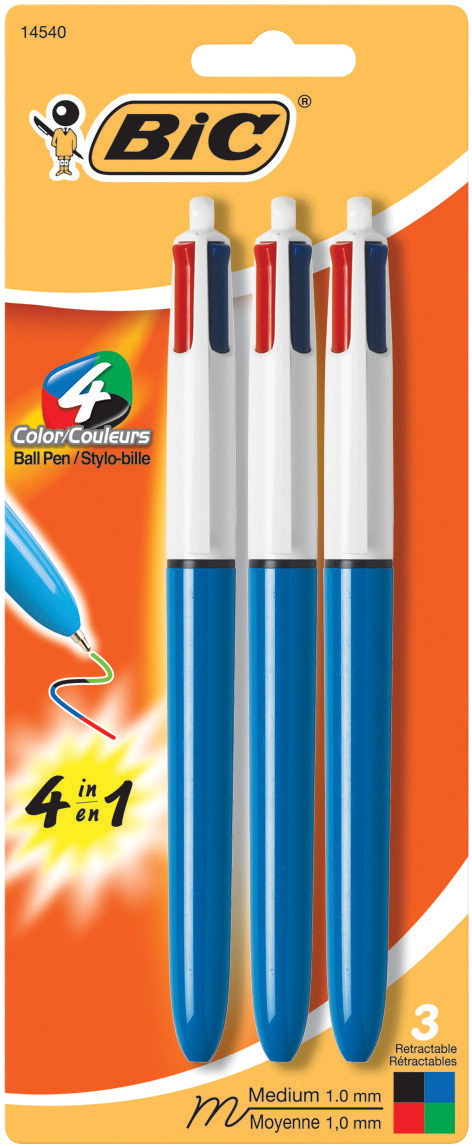 BIC 4-Color Business Pen, Assorted Business Colors, Pack of 3