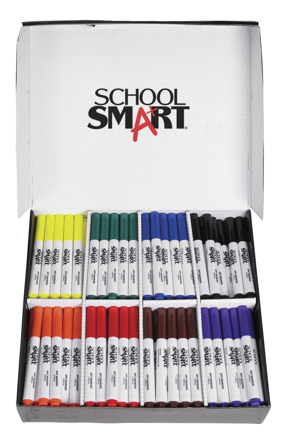 School Smart Art Marker, Conical Tip, Assorted Colors, Pack of 200