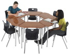 Classroom Select Contemporary Collaboration Octagon Desk, 30 Inches, Various Laminate and Book Rack