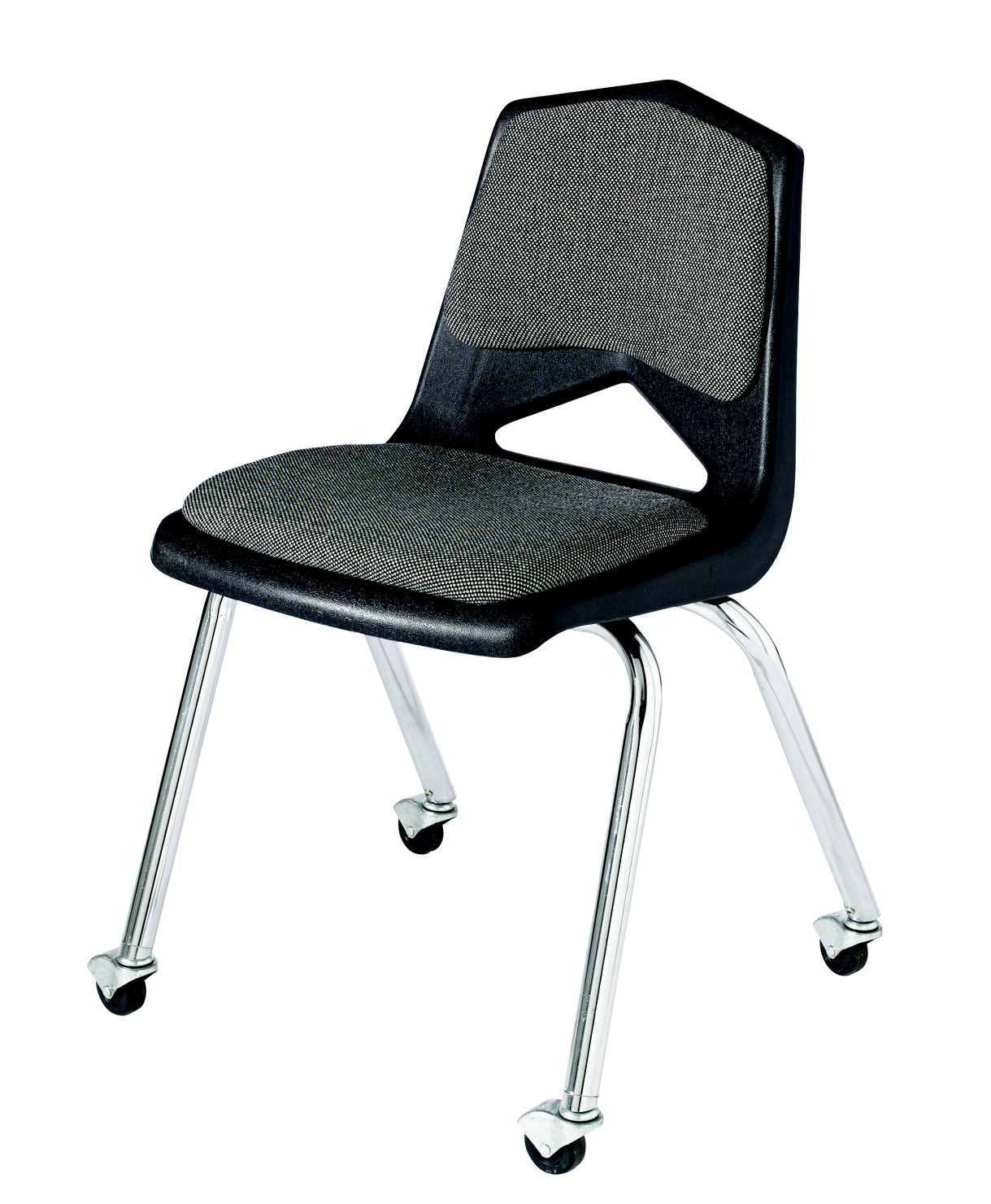 Classroom Select Royal 1100 Hard Plastic Shell Padded Chair with Casters, 18 Inch A+ Seat, Chrome Frame, Various Options