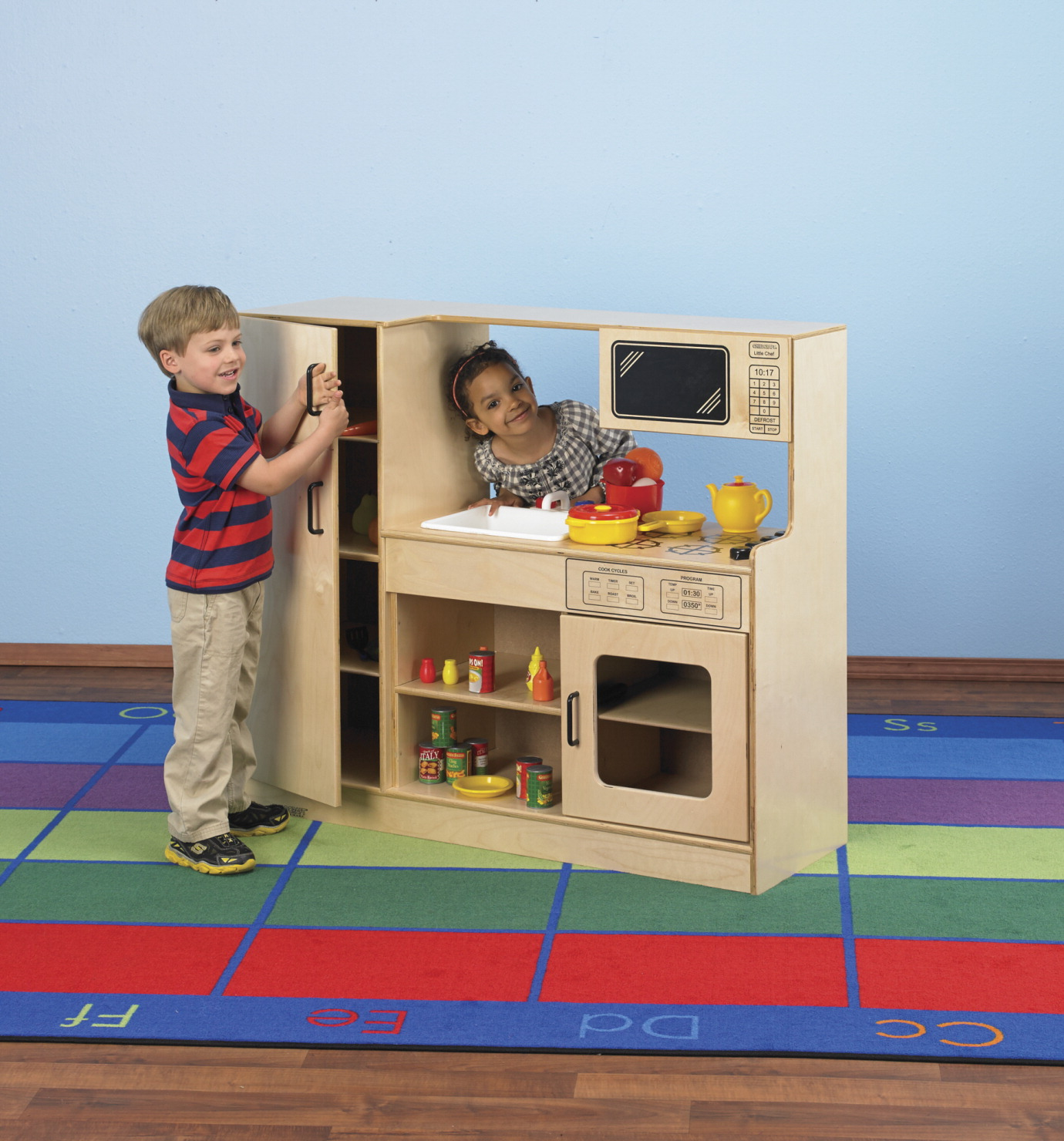 Childcraft see thru kitchen center classroom direct for Child craft play kitchen